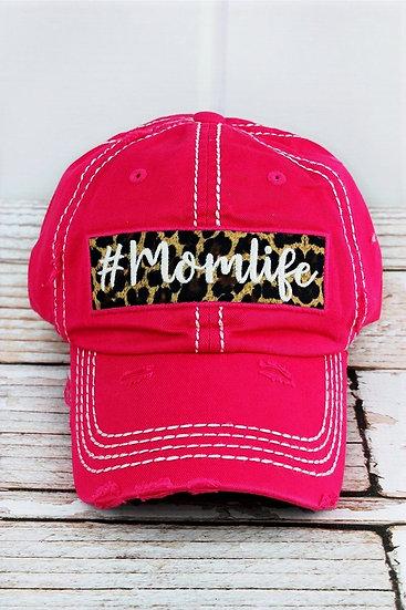 Pink & Leopard Print #MomLife Distressed Hat