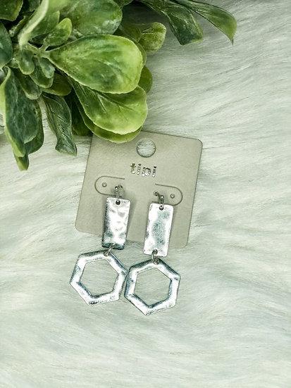 Silvertone Bar & Hexagon Earrings