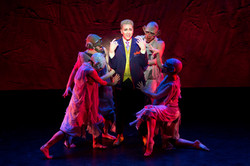 Brian Charles Rooney as King Simius with dancers Melissa Hunter McCann, Spencer Clark, Ashley Tallut