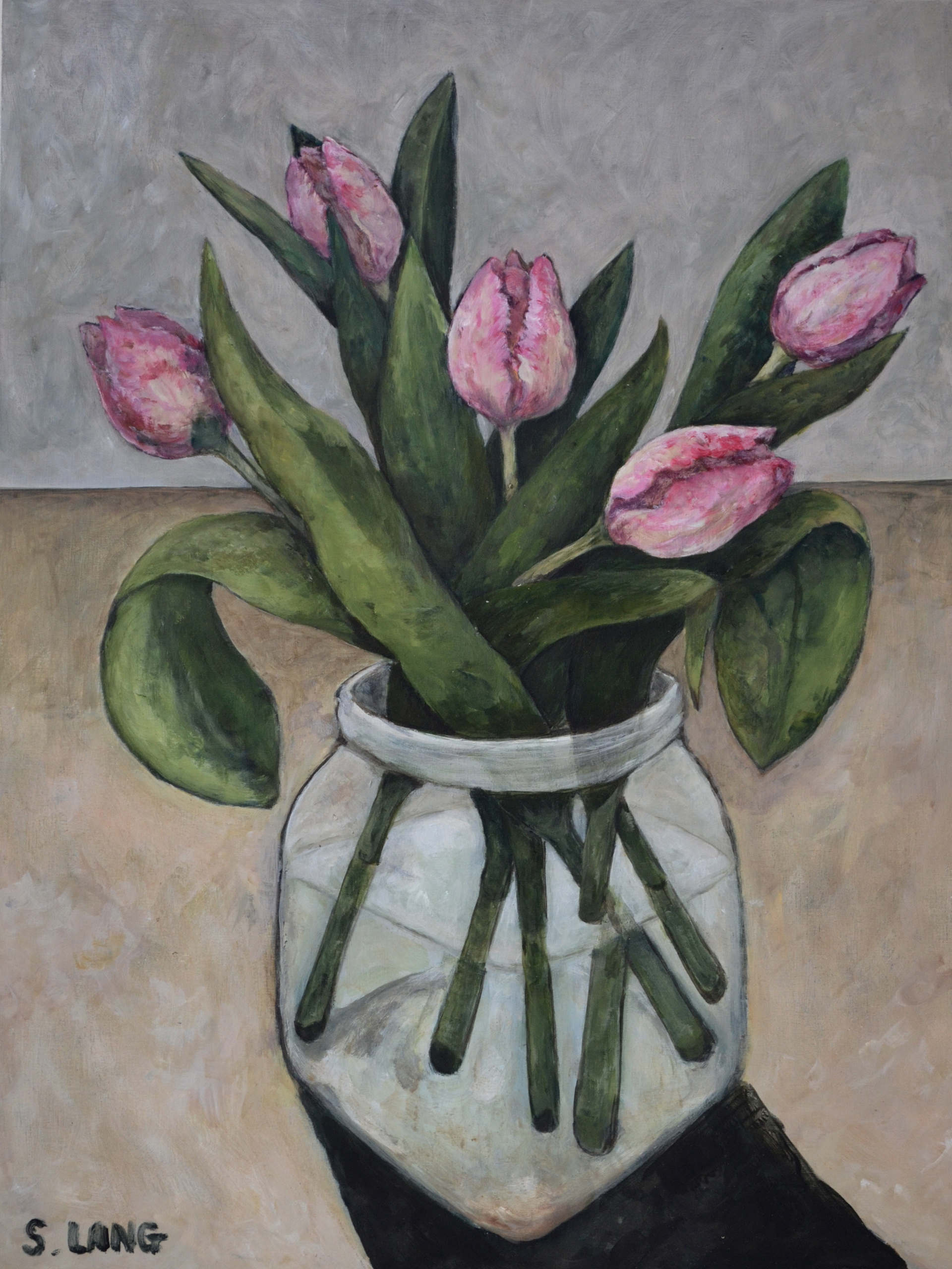 Pink Tulips in a Jar