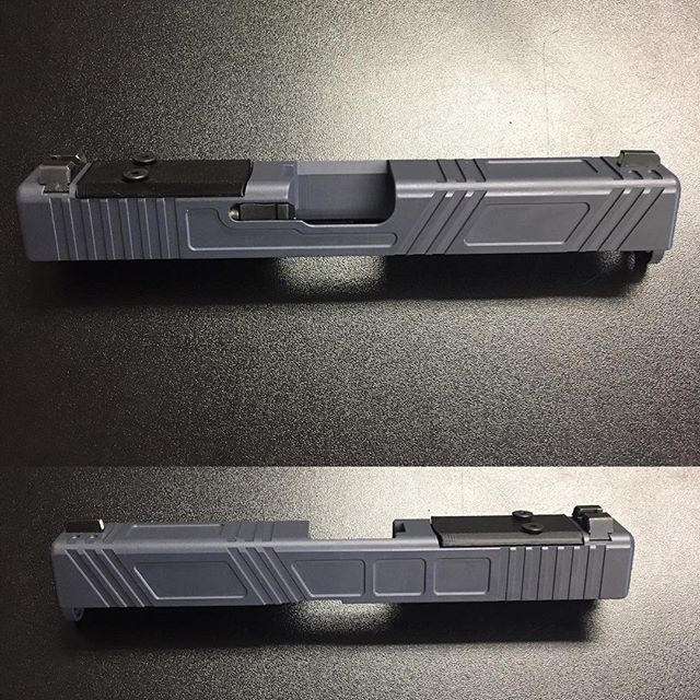 Some more custom slide work ... Glock 17 Slide in Tactical Grey with RMR cut and custom serrations