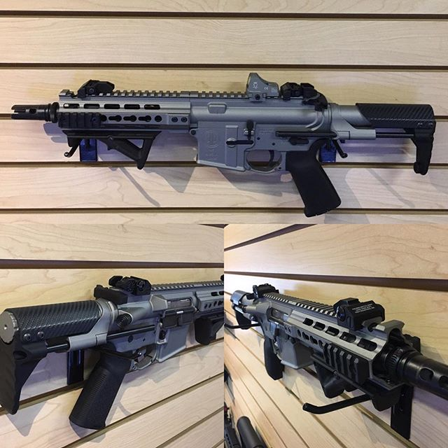Just in from Cerakote.  Titanium Silver on a PWS Diablo 7.62x39 with the Battle Arms Development PDW