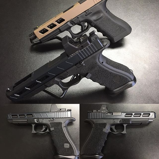 Glock 34 MOS with some of our Custom slide work and Stipple with double undercut!  Glock 17 in the b
