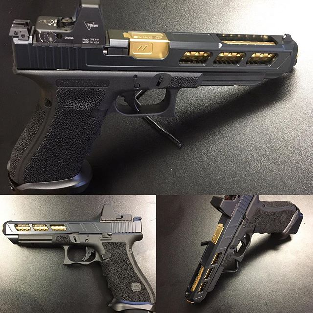 Another one of our custom Glocks!  Glock 34 with slide cuts and windows with forward slant cut. Cera