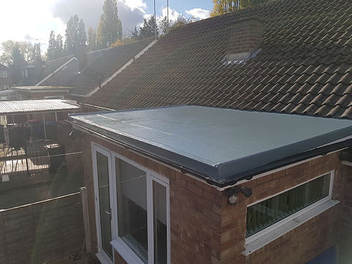 A completed flat roof repair