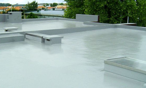 An example of a liquid rubber roof repair