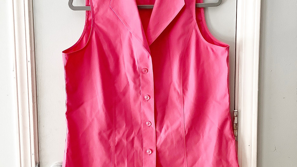 Jones New York Sleeveless Pink Button Up Size 14