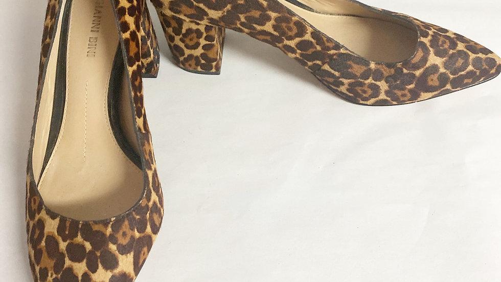 Gianni Bini Leather Calf Hair Leopard Print Pump Size 8.5