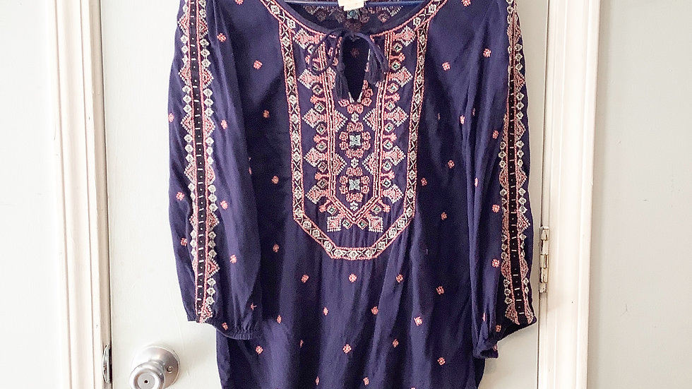 Vanessa Virginia Embroidered Boho Tunic Size 6