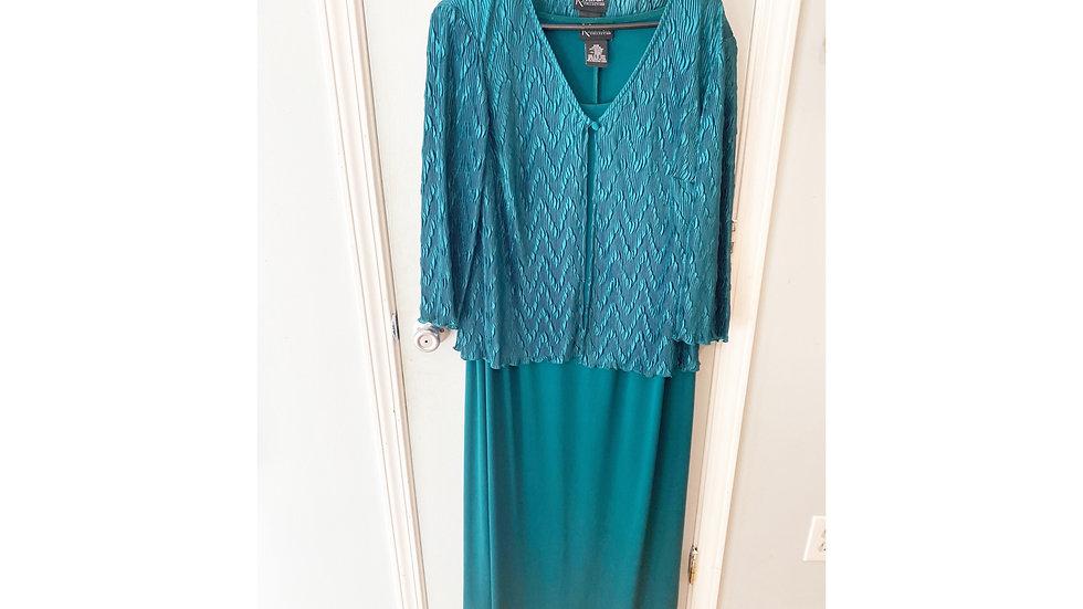 K Woman Collection Green Dress w/Jacket Size 20W