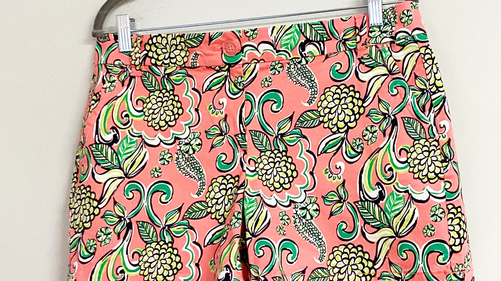 Crown & Ivy Coral Floral Chino Shorts Size 8