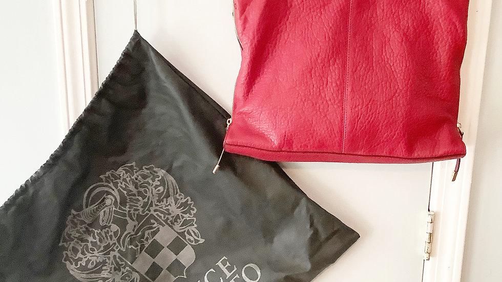 Vince Camuto Pebbled Lambs Leather Pepperberry Shoulder Bag