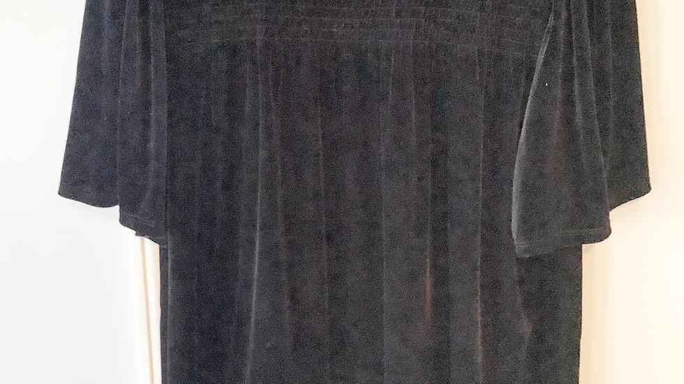 CeCe Black Velvet Ruched Neckline Blouse Size L