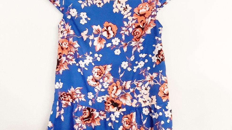 Kensie Blue Floral Blouse Size XS