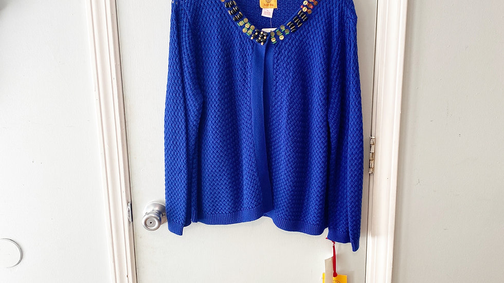 NEW Ruby Rd., Embellished Blue Sweater Size XL