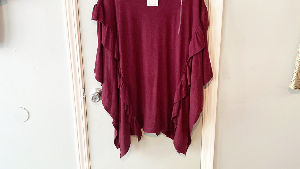 NEW Rae Mode Wine Poncho Size S