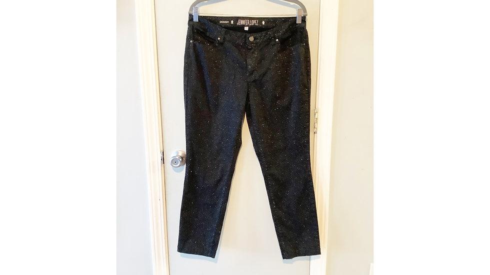 Jennifer Lopez Black Sparkle Skinny Jeans Size 14