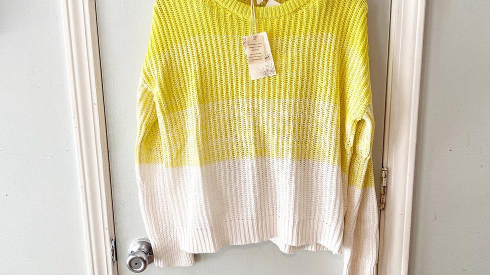 NEW Hem & Thread Yellow Colorblock Sweater Size S