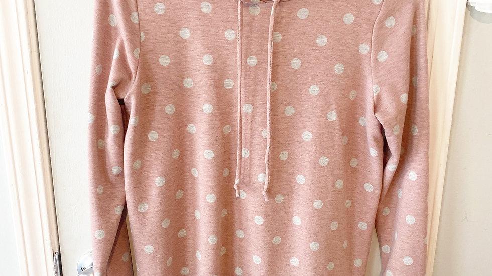 e. Luna Pink Gray Polka Dot Hoodie Size M