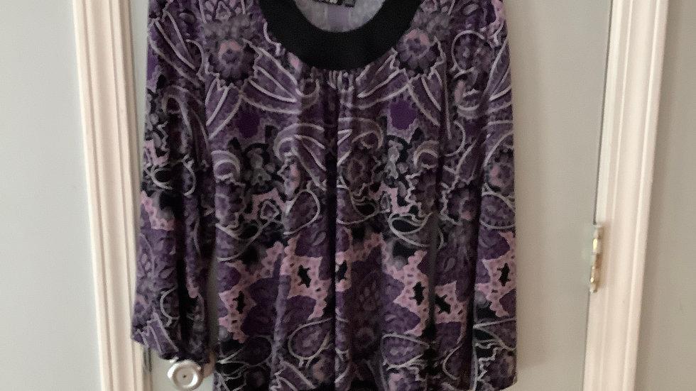 Apt. 9 Purple Floral Blouse Size XL