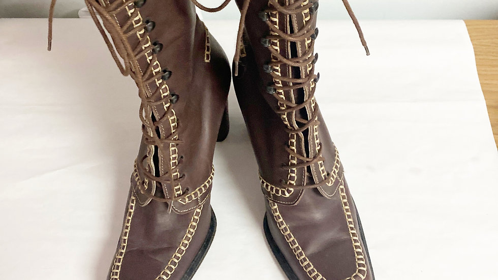 Donna Ketty Brown Leather Lace Up Boot Size 9