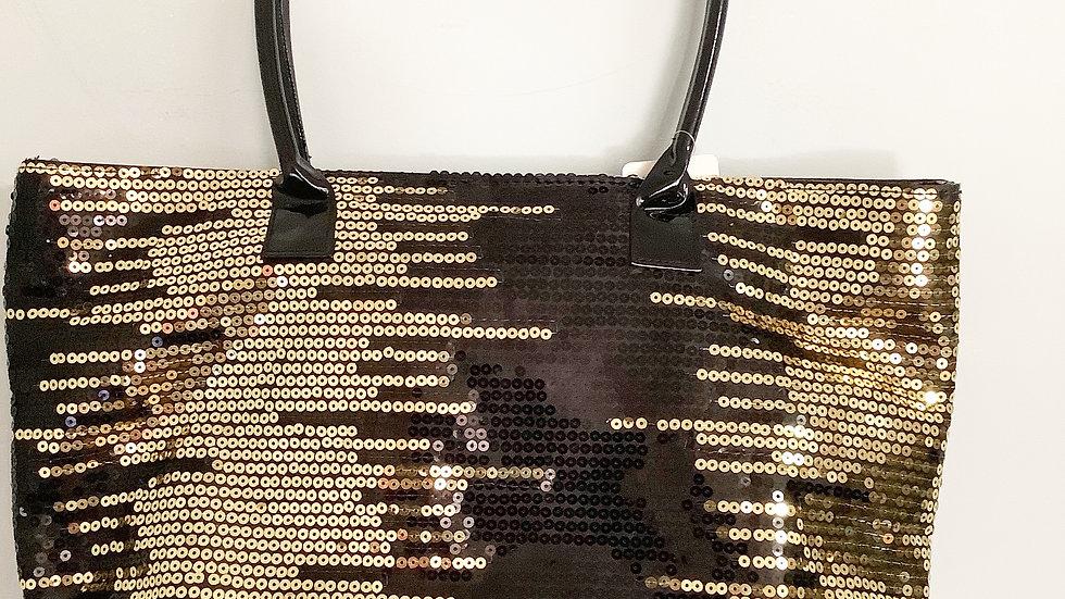 Venus Tote Gold Black Sequin 9.5X14X4
