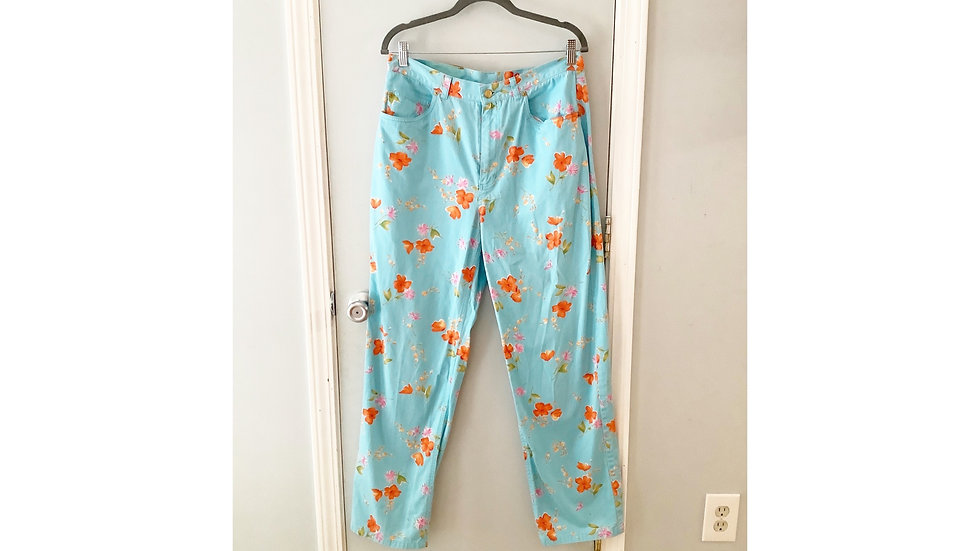 Evan Picone Twill Floral Print Pant Size 14