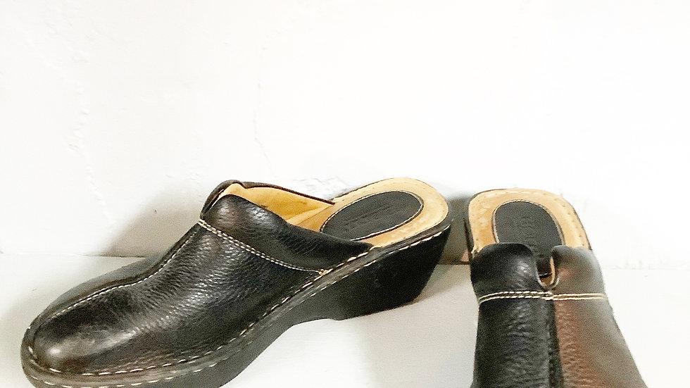 Born Black Leather Clog Size 9