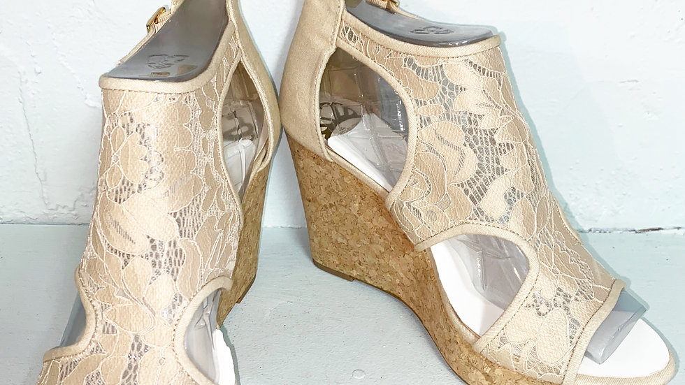 Fergalicious MacKenzie Cork Wedge Heel Size 10
