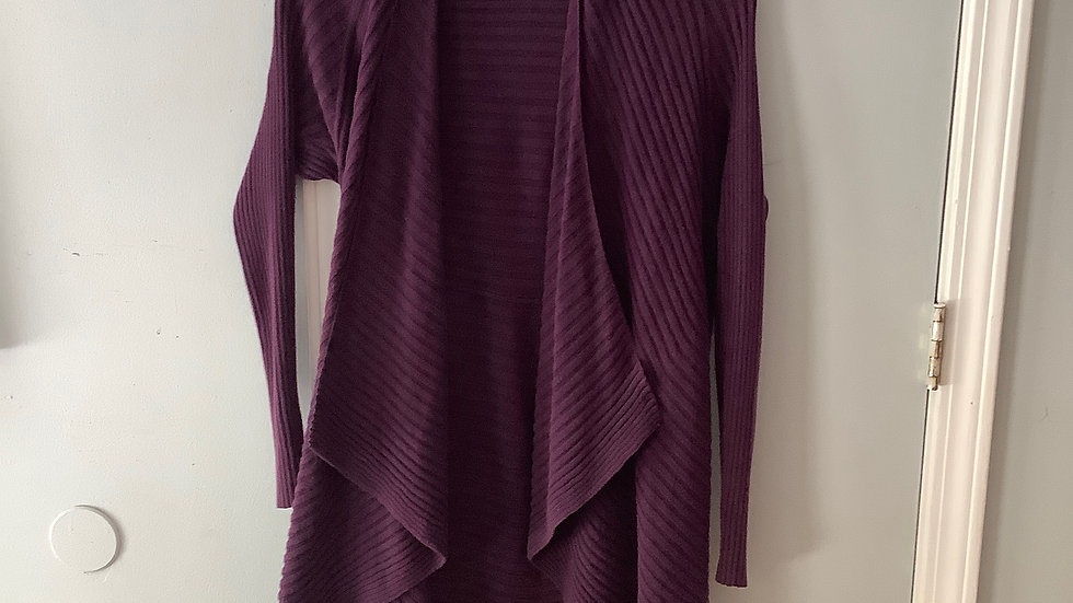Willi Smith Plum Open Front Waterfall Cardigan Size M
