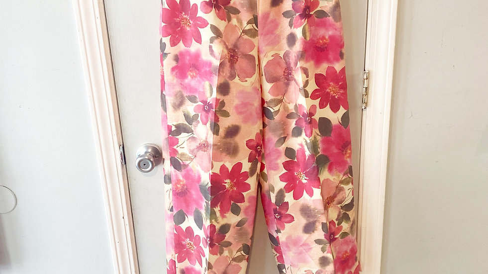 NEW Silk Club Floral Print 100% Silk Pant Size 6