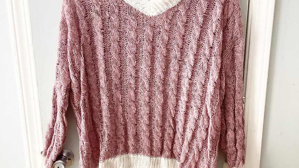L Love Open Weave Chunky Hi Low Sweater Size S
