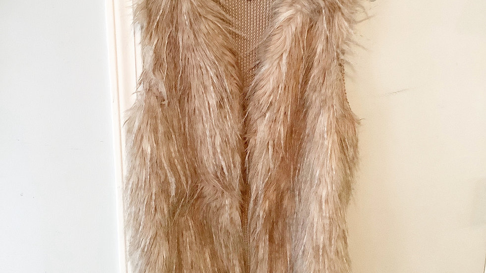 Sebby Collection Tan Faux Fur Vest Size S
