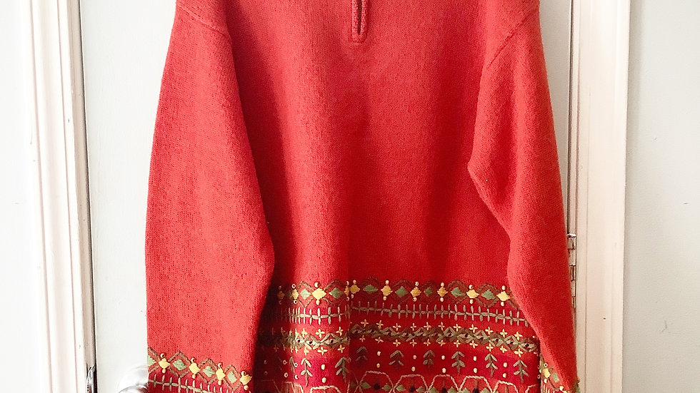 Timberlea Wool Sweater Burnt Orange Size L