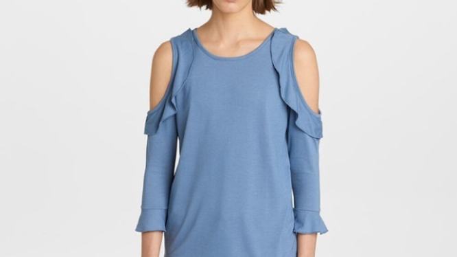 Karl Lagerfeld Paris French Blue Ruffle Cold Shoulder Size M