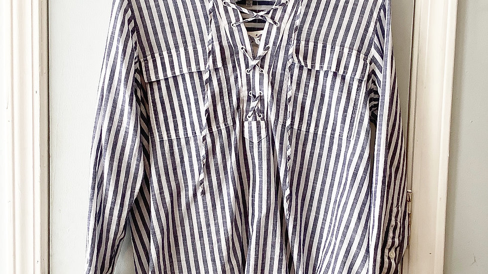 Madewell Striped Lace Front Top Size M