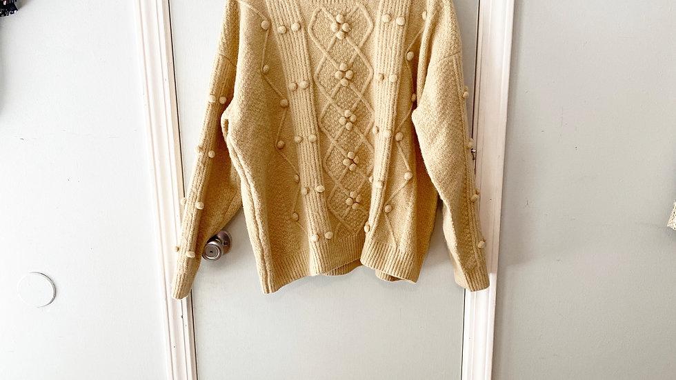 POL Knubby Knot Tan Sweater Size S