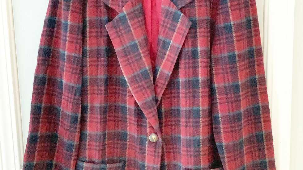 Star CCC Wine Plaid Blazer Size M