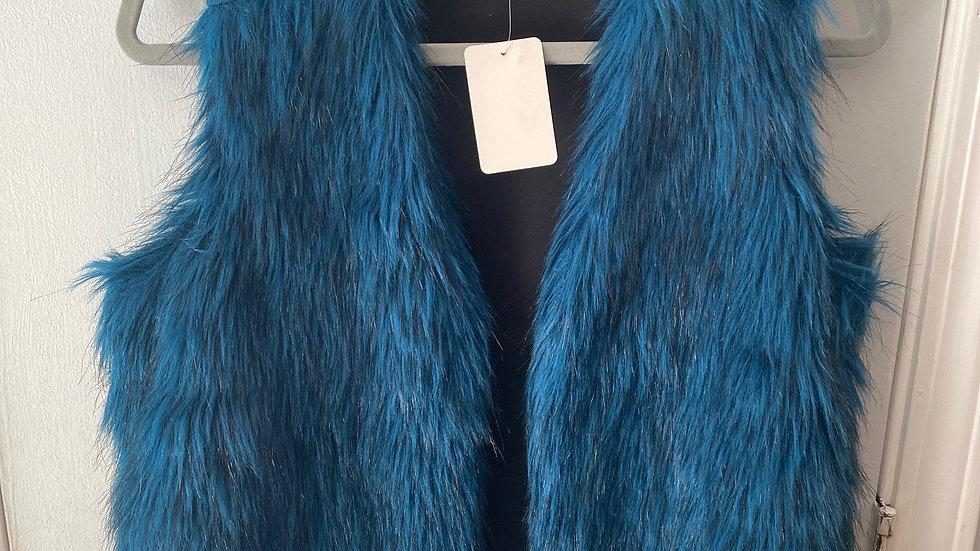 Libby Edelman Blue Faux Fur Vest Size  XS