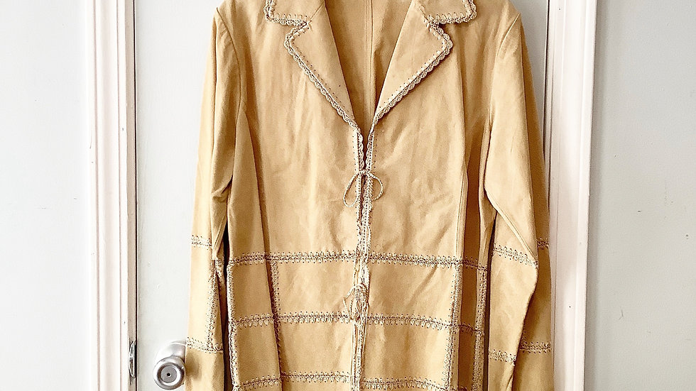 Outbrook Tan Leather Embroidered Jacket Size S