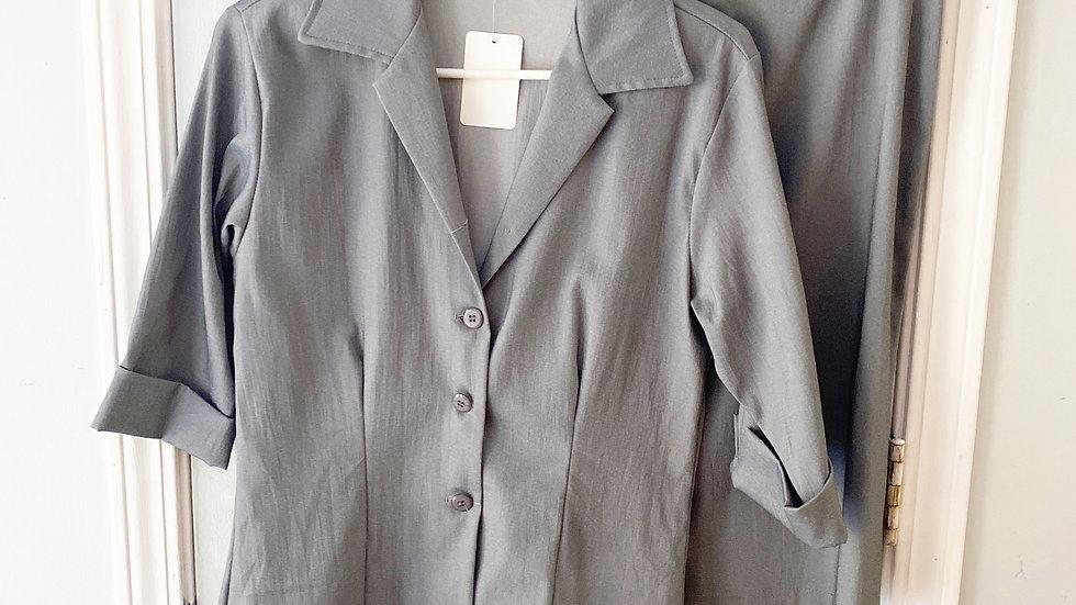 Luly K Cotton Blend Gray Skirt Set Size M