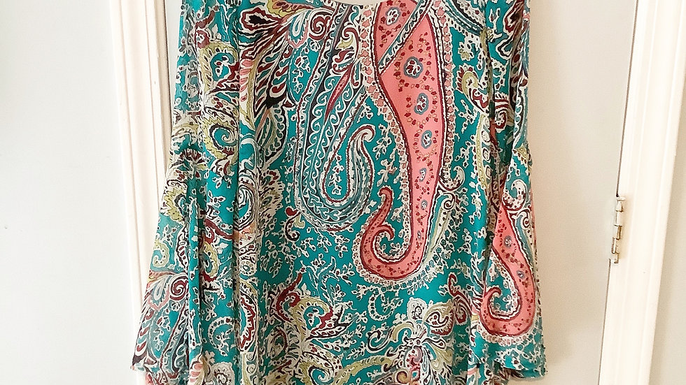 Pink Owl Paisley Lined Dress Open Back Size S