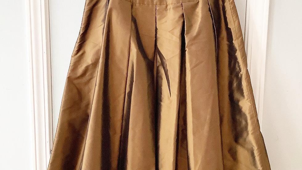 Talbots Gold/Bronze Box Pleat Skirt Size 12P