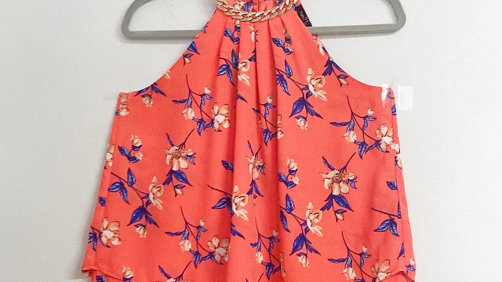 Rue 21 Floral Metallic Chain Embellished Neckline Size S