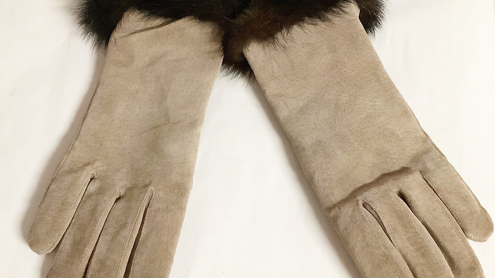 Gloves Faux Fur Leather Wool