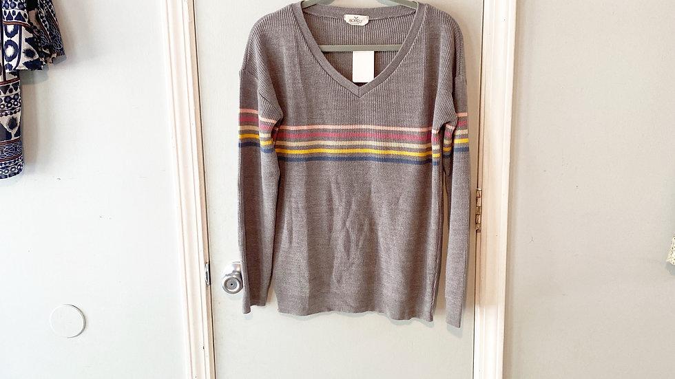 Hopely Stripe V-Neck Sweater Size S