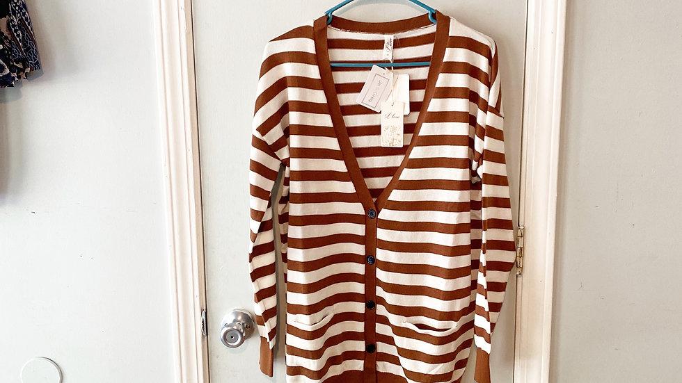 NEW L Love Striped Cardigan Sweater Size M