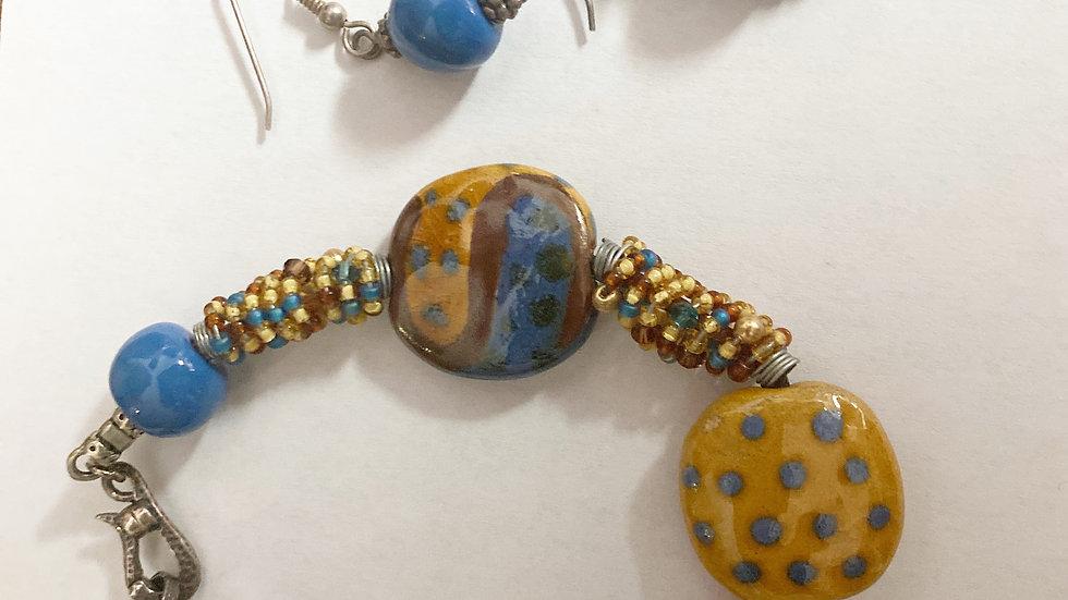 Handmade Artisan Glass Bead Bracelet/Earring Set