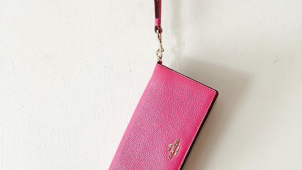 NEW Coach Leather Dahlia Pink Wallet W/wristlet Strap