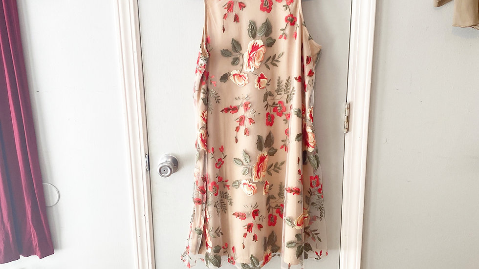 Beige By ECI Embroidered Lined Dress Size S